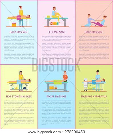 Back Massage Therapy Treatment Posters With Editable Text Set Vector. Specialist Professional Masseu