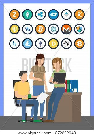 Bitcoin Currencies Icons Set And Workers Looking At Laptop Vector. Litecoin And Dogecoin, Ripple And