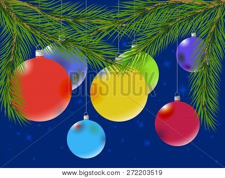 Multicolored Christmas Balls Under Christmas Tree Branches