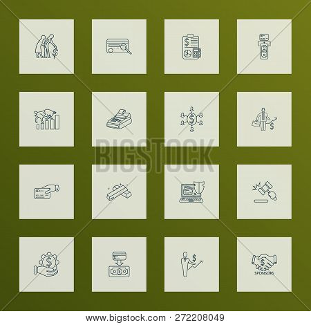 Financial Icons Line Style Set With Sponsors, Cashback Card, Auction And Other Setting Elements. Iso