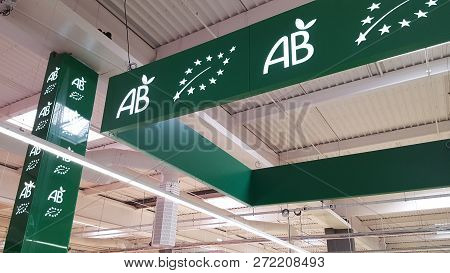 Bordeaux, France - November 30, 2018 : Organic Agriculture Label Sign (in French : Ab Agriculture Bi