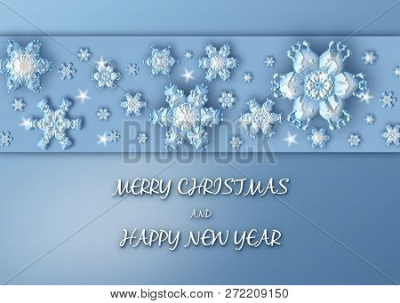 Merry Christmas Background With Border Made Of Blue Snowflakes. Christmas Greeting Card