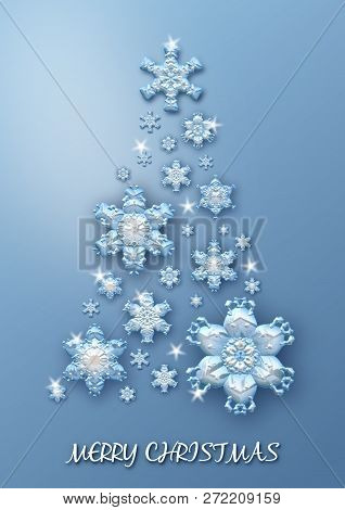 Merry Christmas Tree Made Of Blue Snowflakes On Blue Background. Merry Christmas Greeting Card