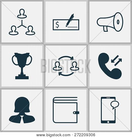 Resources Icons Set With Manager, Chat, Speaker And Other Businesswoman Elements. Isolated  Illustra