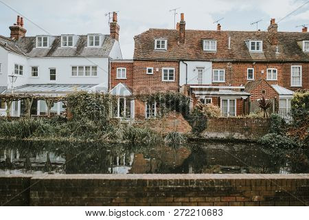 Canterbury, England - October 28th, 2018: Houses  In Front Of Stour River, In The Chanels Of Canterb