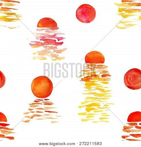 Seamless Pattern With Watercolor Sea Sunsets On White Background. Good Design For Wrapping Paper, Te