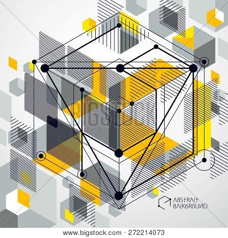 Geometric Technology Vector Yellow Drawing, 3d Technical Backdrop. Illustration Of Engineering Syste