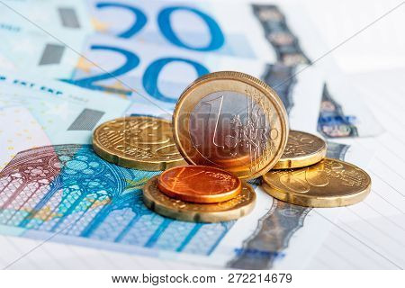Euro Coins And Banknotes. European Money, Official Currency Of 19 Of 28 Member States Of The Europea