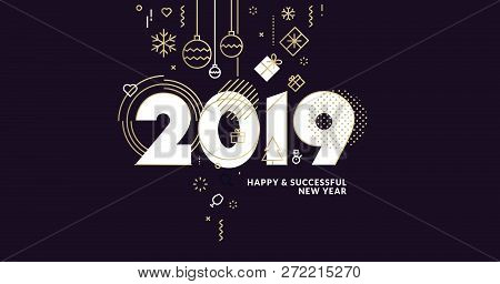 Business Happy New Year 2019 Greeting Card. Vector Illustration Concept For Background, Greeting Car