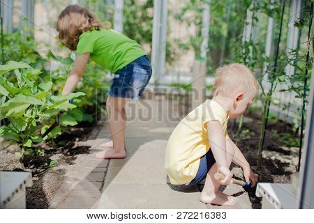 Cute Toddler Boy And Girl (brother And Sister Or Friends) Working In The Greenhouse, Digging With Li