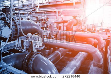 Pipes And Sewage Pumps Inside Modern Industrial Wastewater Treatment Plant.