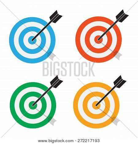 Targets Icon On White Background. Flat Style. Target Concept Icon For Your Web Site Design, Logo, Ap