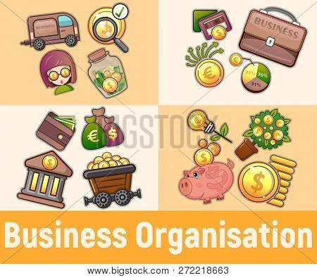 Business Organisation Concept Banner. Cartoon Banner Of Business Organisation Vector Concept For Web