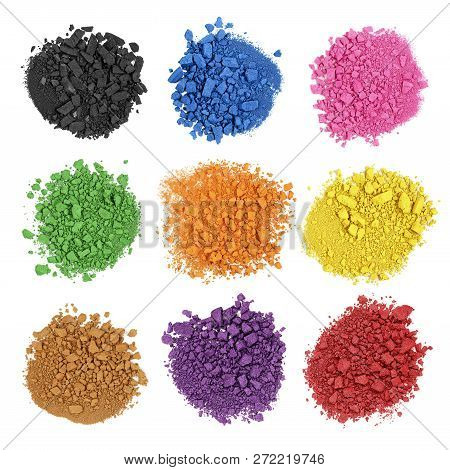Collection Of` Colors, Crushed Watercolor Paint Isolated On White