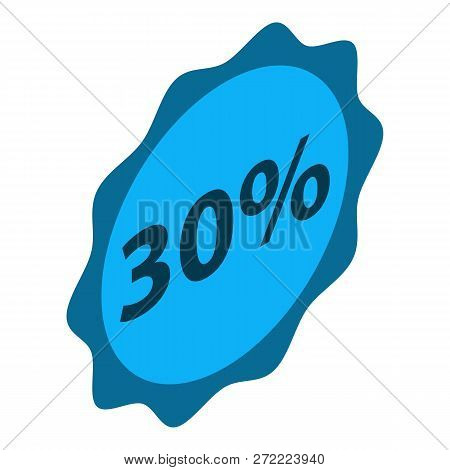 Sale 30 Percent Emblem Icon. Isometric Of Sale 30 Percent Emblem Vector Icon For Web Design Isolated