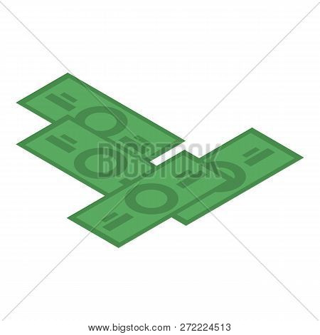 Dollar Banknote Icon. Isometric Of Dollar Banknote Vector Icon For Web Design Isolated On White Back