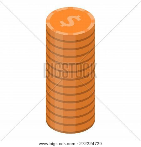 Dollar Coin Stack Icon. Isometric Of Dollar Coin Stack Vector Icon For Web Design Isolated On White