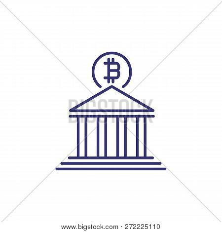Bitcoin Bank Line Icon. Building On White Background. Cryptocurrency Concept. Vector Illustration Ca