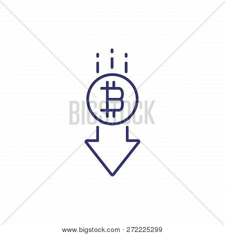 Bitcoin Decline Line Icon. Arrow Down With Bitcoin Symbol On White Background. Cryptocurrency Concep