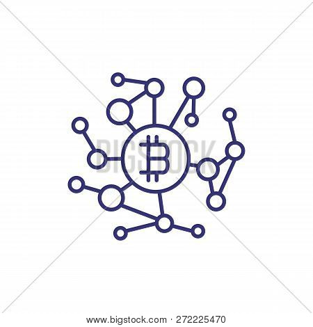 Bitcoin Network Line Icon. Network Connections With Bitcoin Symbol On White Background. Cryptocurren
