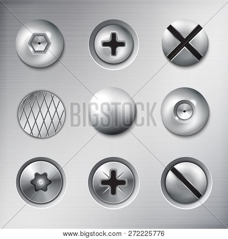 Set Of Realistic Attached Fasteners Screws Bolts Nails On Metal Texture Background Isolated Vector I