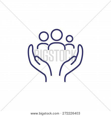 Family Insurance Line Icon. Mother, Father And Child In Two Human Hands On White Background. Insuran
