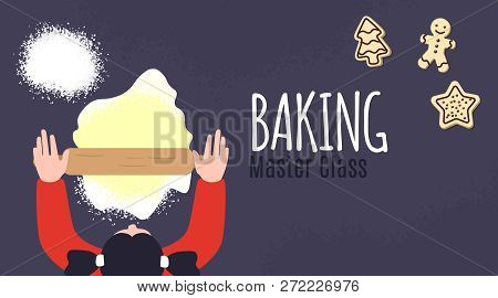 Backing Master Class Poster Design. Cooking Pastry Classes Training. Culinary Workshop. Top View. Co