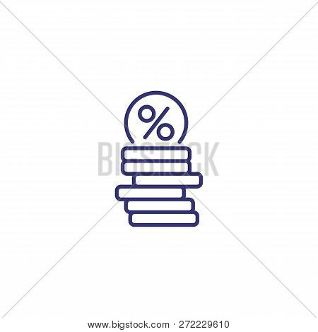 Loan Line Icon. Coins With Round Percent Mark On White Background. Finance Concept. Vector Illustrat