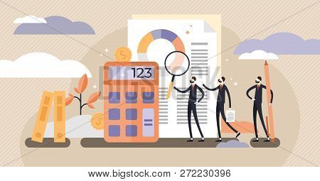 Audit Vector Illustration. Mini Persons Systematic Independent Examination. Concept Of Accounting Ec
