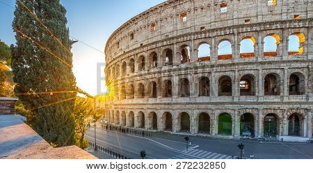 Colosseum At Sunrise, Rome. Rome Architecture And Landmark. Italy