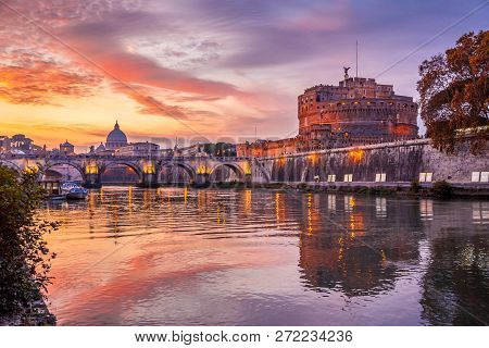Holy Angel Castle, Also Known As Hadrian Mausoleum At Sunset, Rome, Italy