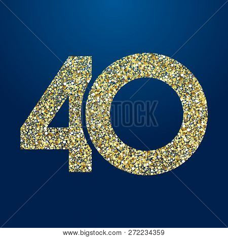 40 Th Years Old Logotype. Isolated Golden Color Abstract Dot Graphic Symbol Of 40%. Shiny Straight E