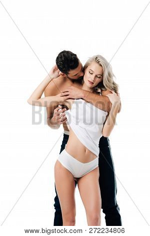 Affectionate Man Embracing Beautiful Young Woman Isolated On White