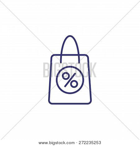 Purchase On Credit Line Icon. Shopping Bag With Round Percent Mark On White Background. Credit Conce