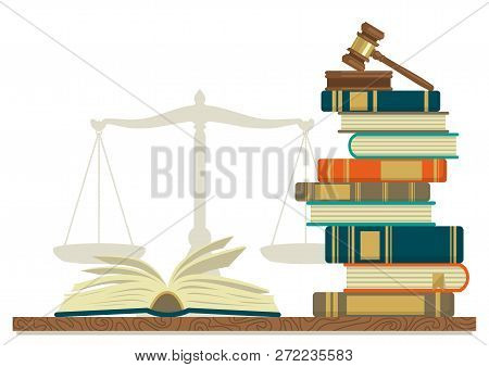 Law Studies. Stack Of Books With Glasses, Open Book And Judge Gavel On White Background. Vector Illu