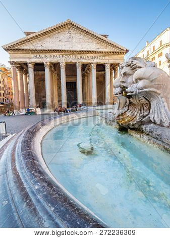 Pantheon In The Morning, Rome, Italy, Europe.