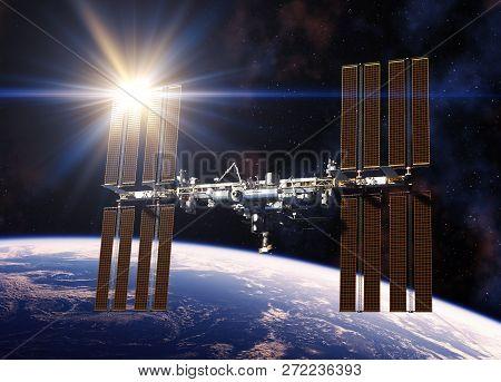 Reflecting Sun In Solar Panels Of International Space Station. 3d Illustration.
