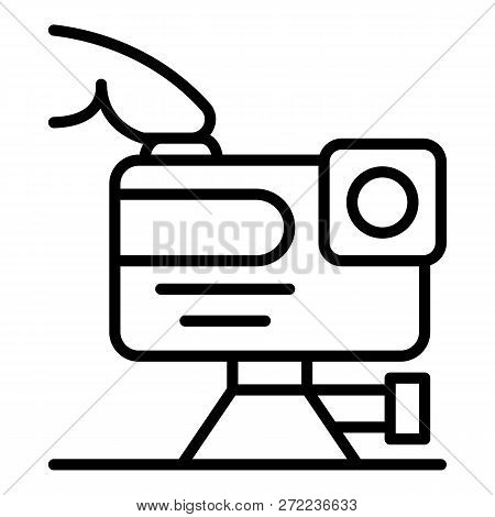 Play Action Camera Icon. Outline Play Action Camera Vector Icon For Web Design Isolated On White Bac