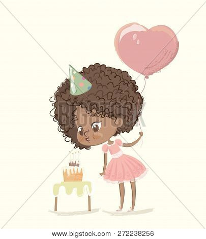 Cute African-american Happy Girl With The Balloon And Birthday Hat Wearing Pink Dress Blowing Up The