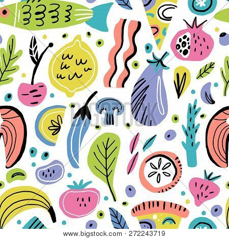 Food Flat Hand Drawn Seamless Pattern. Fruits, Vegetables, Fish. Healthy Nutrition Texture. Organic