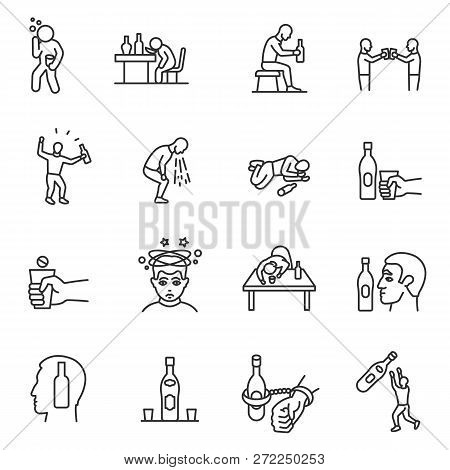 Alcoholism, Drunkenness, Icon Set. Hangover. Alcohol Intoxication, Linear Icons. Line With Editable