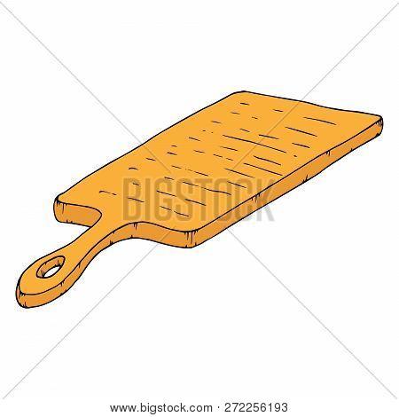 Cutting Board. Vector Of Wooden Cutting Board. Hand Drawn Kitchen Cutting Board.