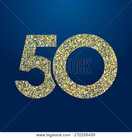 50 Th Years Old Logotype. Isolated Golden Color Abstract Dot Graphic Symbol Of 50%. Shiny Straight E