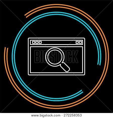 Search Html Icon, Internet Search Icon, Search Engine. Thin Line Pictogram - Outline Stroke