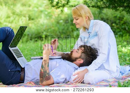 Build Business With Your Spouse. Share Business Responsibility. Business Partner Concept. Couple In