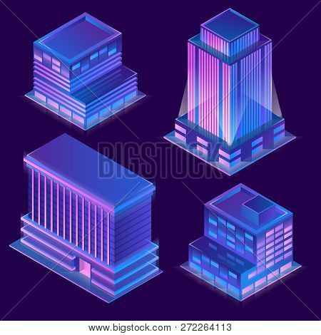 3d Isometric Modern Buildings In Cartoon Style With Neon Illumination. Urban Skyscrapers With Light