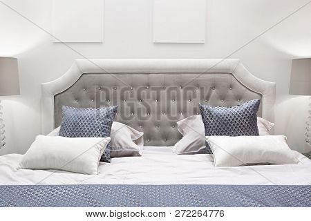 Classic Interior Design Bedroom Gray And Blue, Interior Of A Bedroom With Cushions