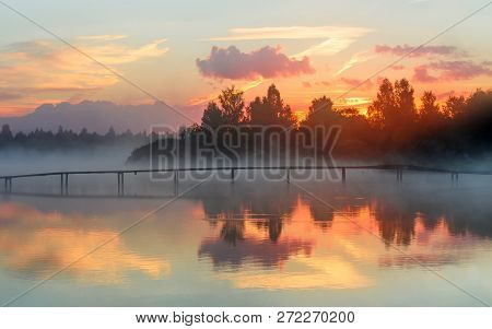Dawn, Fog, Landscape, Morning, Nature, Sky, Sunrise, Water, Beauty, Lake, Mist, Pond, Reflection