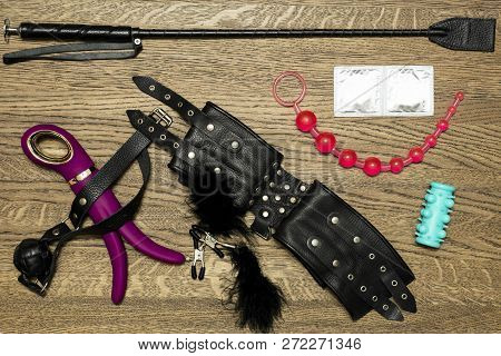 Set sex toys and fetish object. Bdsm poster