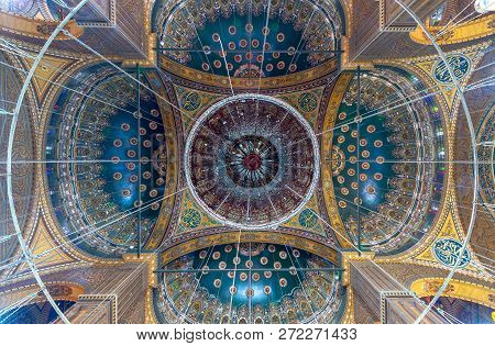 Cairo, Egypt - December 2 2018: Ceiling Of The Great Mosque Of Muhammad Ali Pasha (alabaster Mosque)